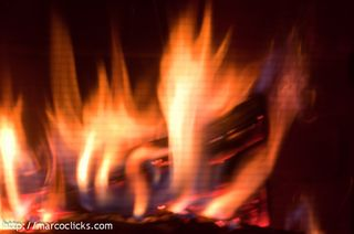 Fire though fireplace grate, 2011
